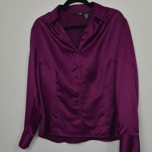 NWT! Plus Size Berry/Plum Career/Work Button Down